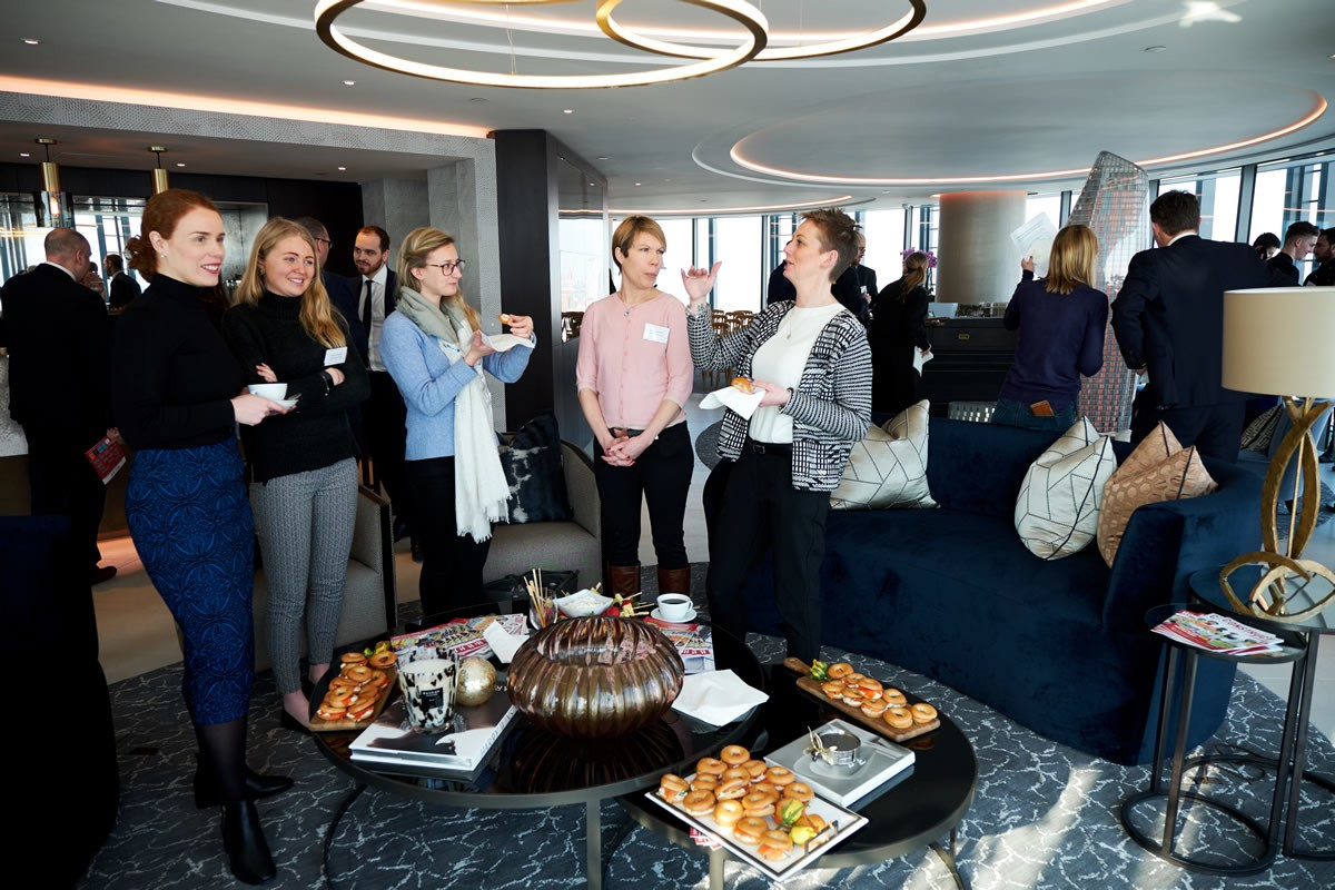 a photo of an apartment at 1 Blackfriars with guests at the Build UK Open Doors Launch talking