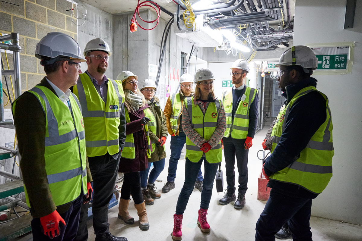 visitors to the Build UK Open Doors Launch having a tour of the building