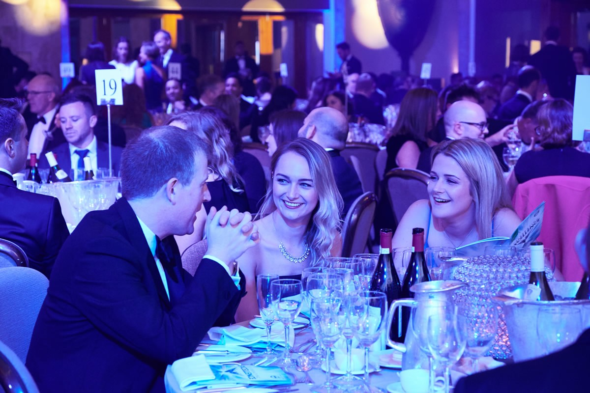guests talking at the tables during the Law Society Awards