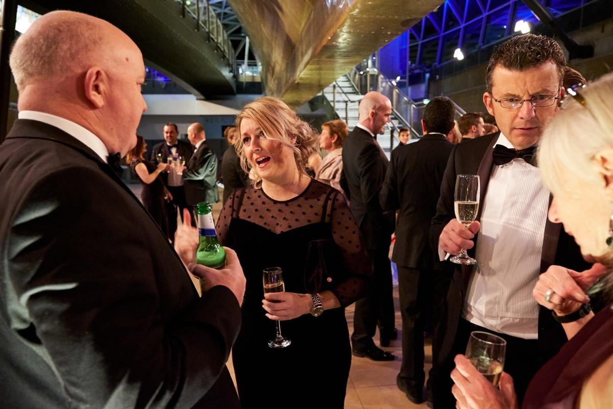 guests talking at a reception at the Cutty Sark
