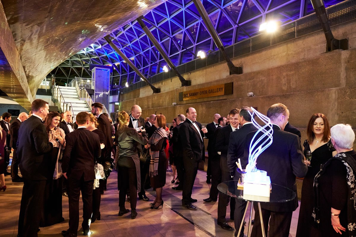 a wide shot of the Cutty Sark event's reception