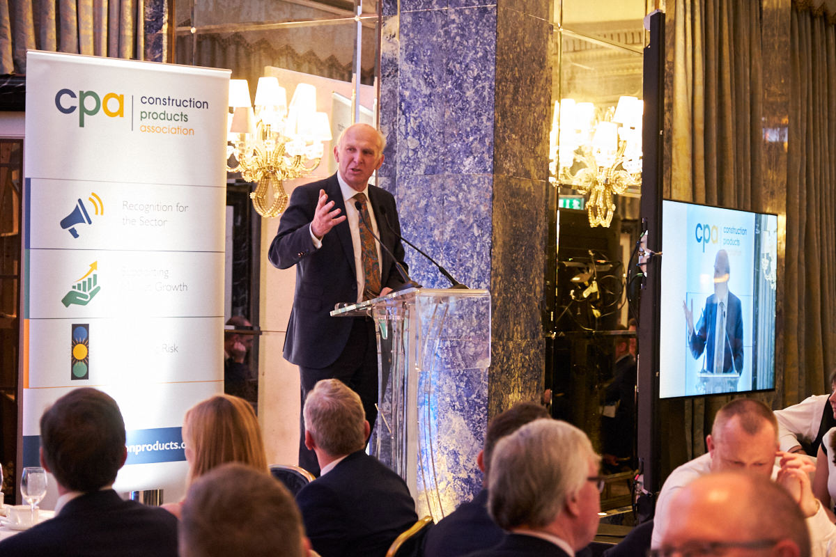 Sir Vince Cable talking at an event at the Dorchester in London