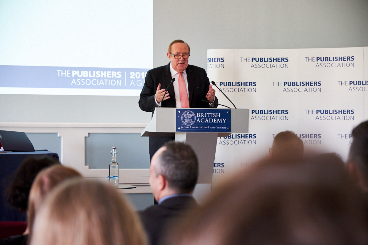 Andrew Neil talking at the Publishers Association AGM 2018