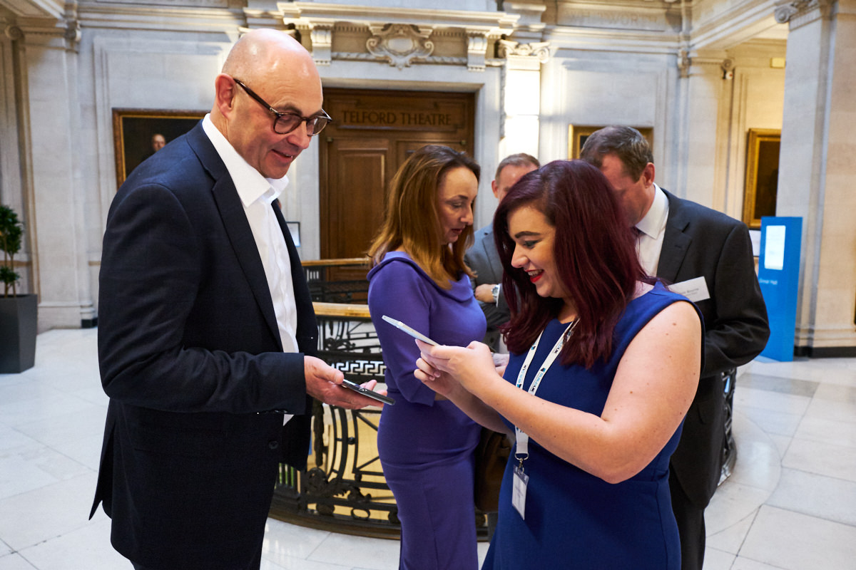 a guest at an event in London using a virtual entry ticket