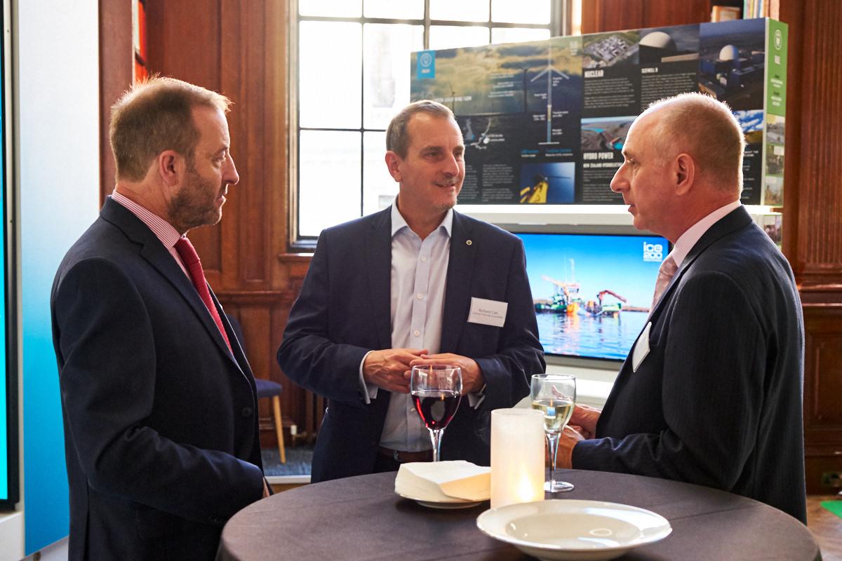 guests talking at a London event for the building industry