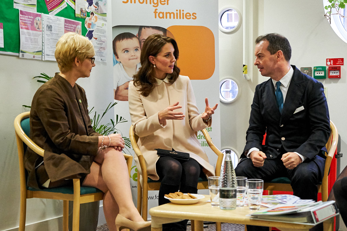 The Duchess of Cambridge talking to members of the Family Action charity
