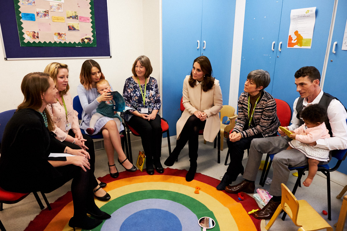 The Duchess of Cambridge sitting in a circle with parents
