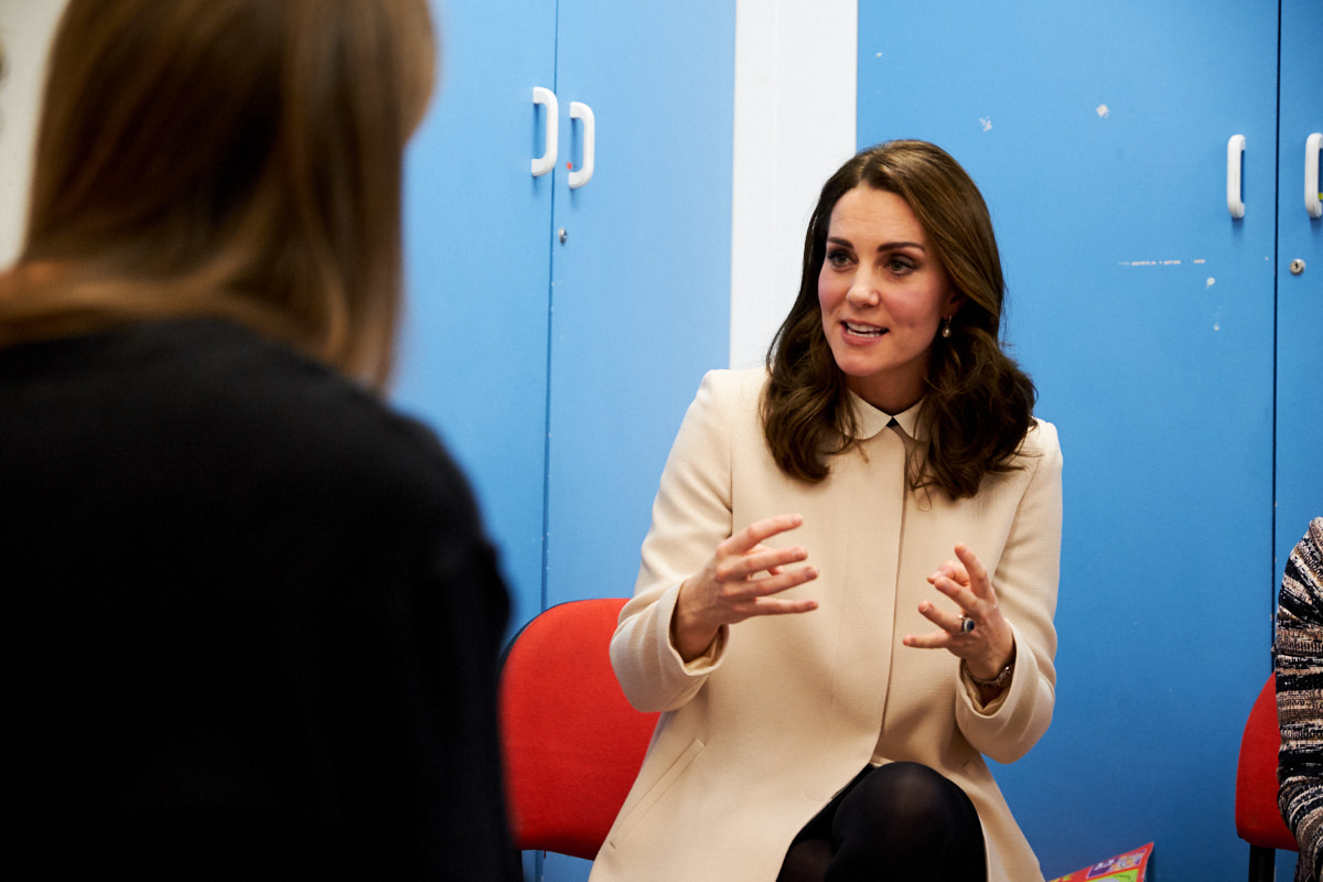 The Duchess of Cambridge making a point