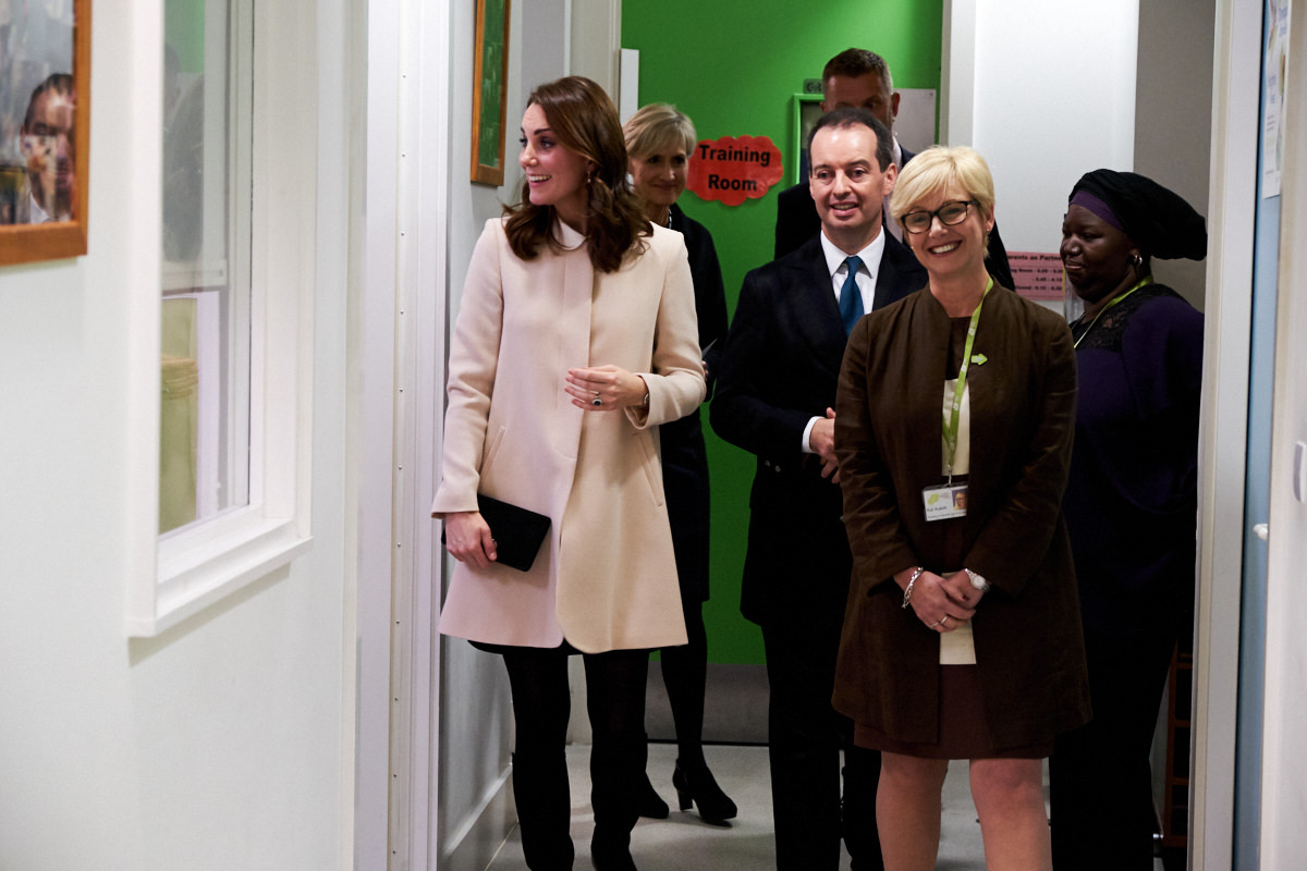 The Duchess of Cambridge walking through the Hornsey Road Children's Centre