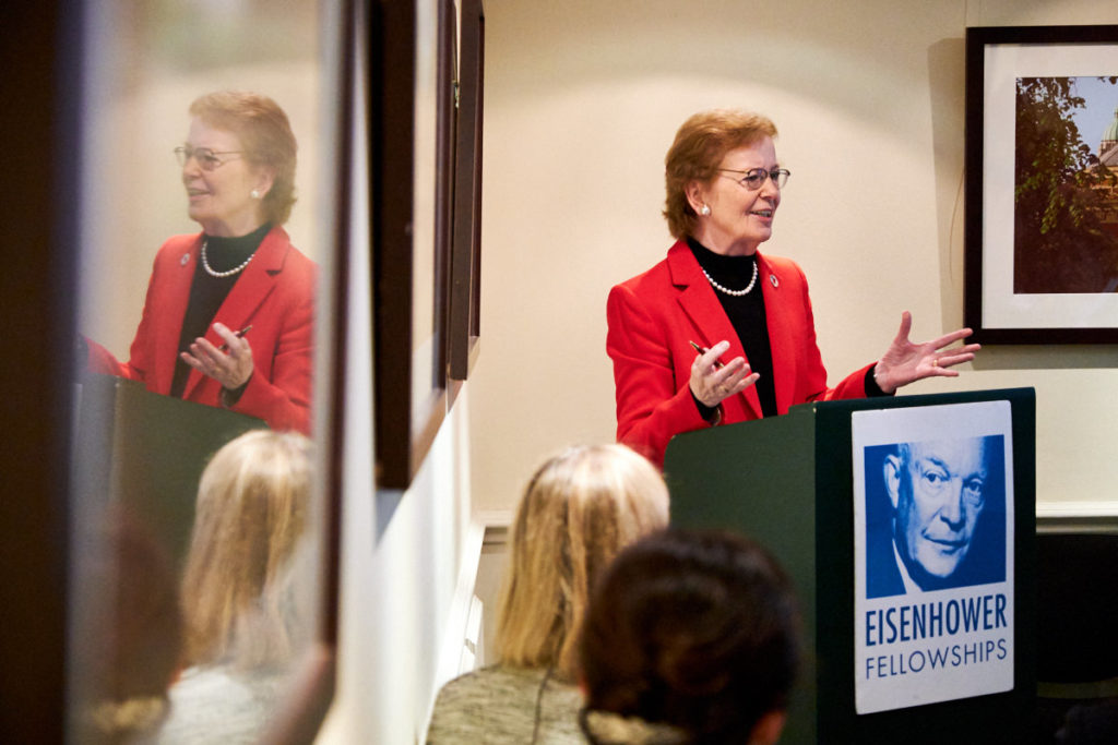 Mary Robinson speaking at a conference