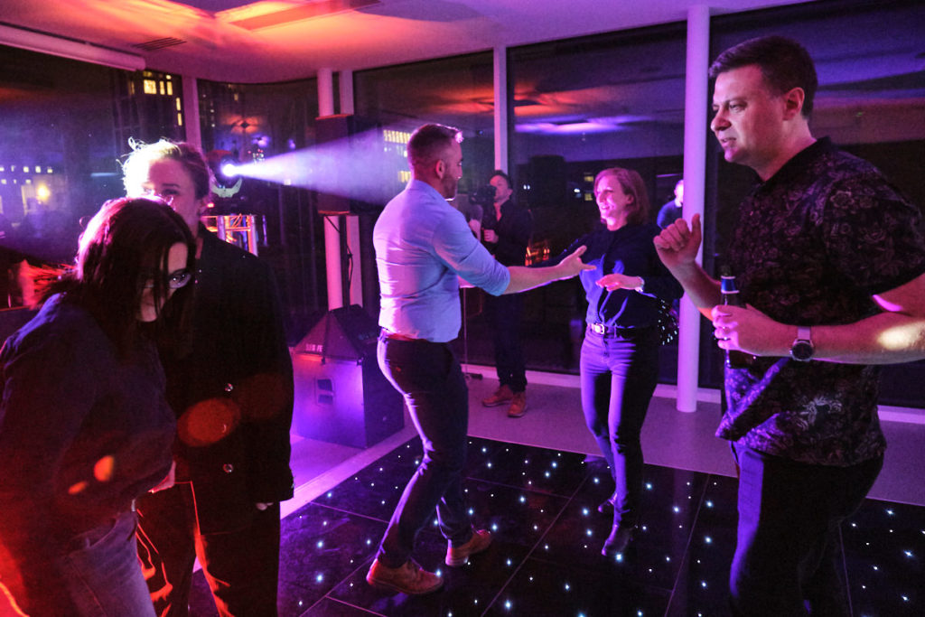 guests at a London event dancing