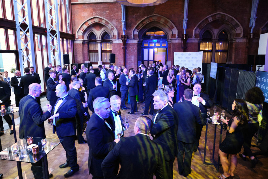 guests at the reception of a London event at the St Pancras Hotel