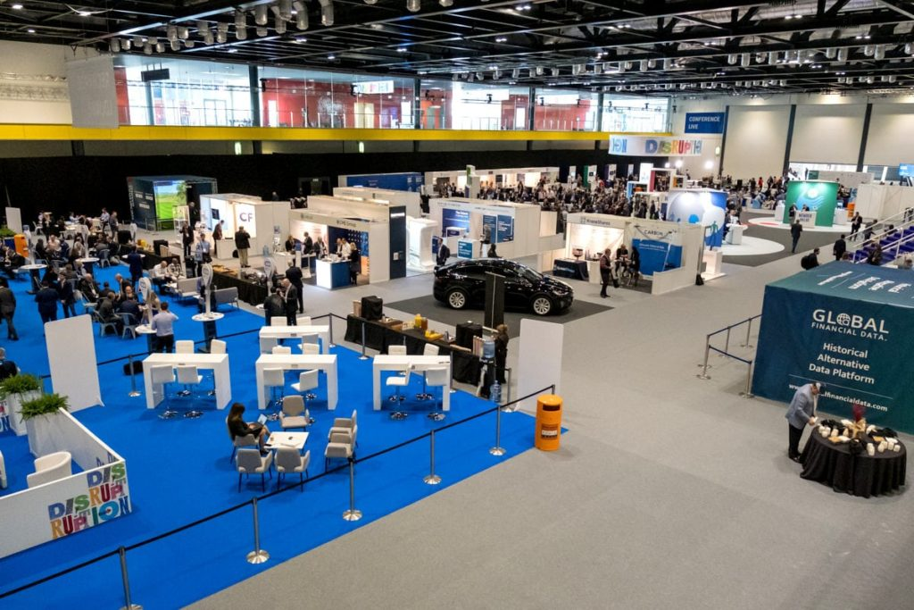A wide photograph of an exhibition at the ExCeL London