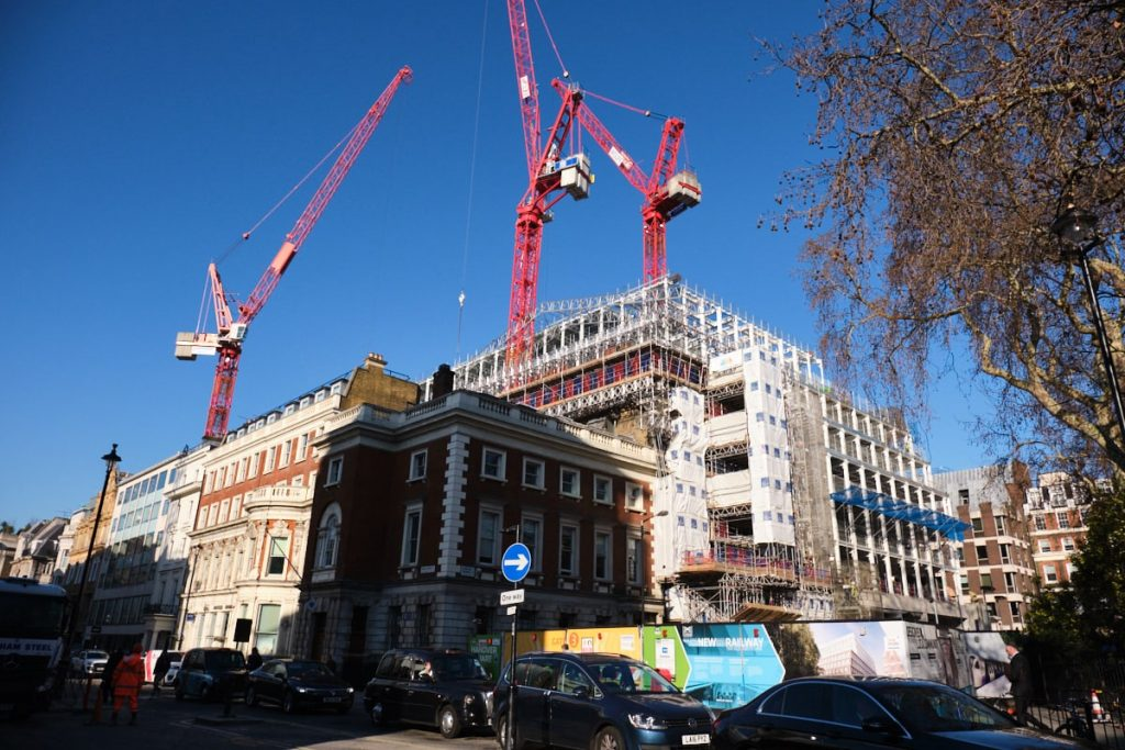 A building site in Hanover Square in London